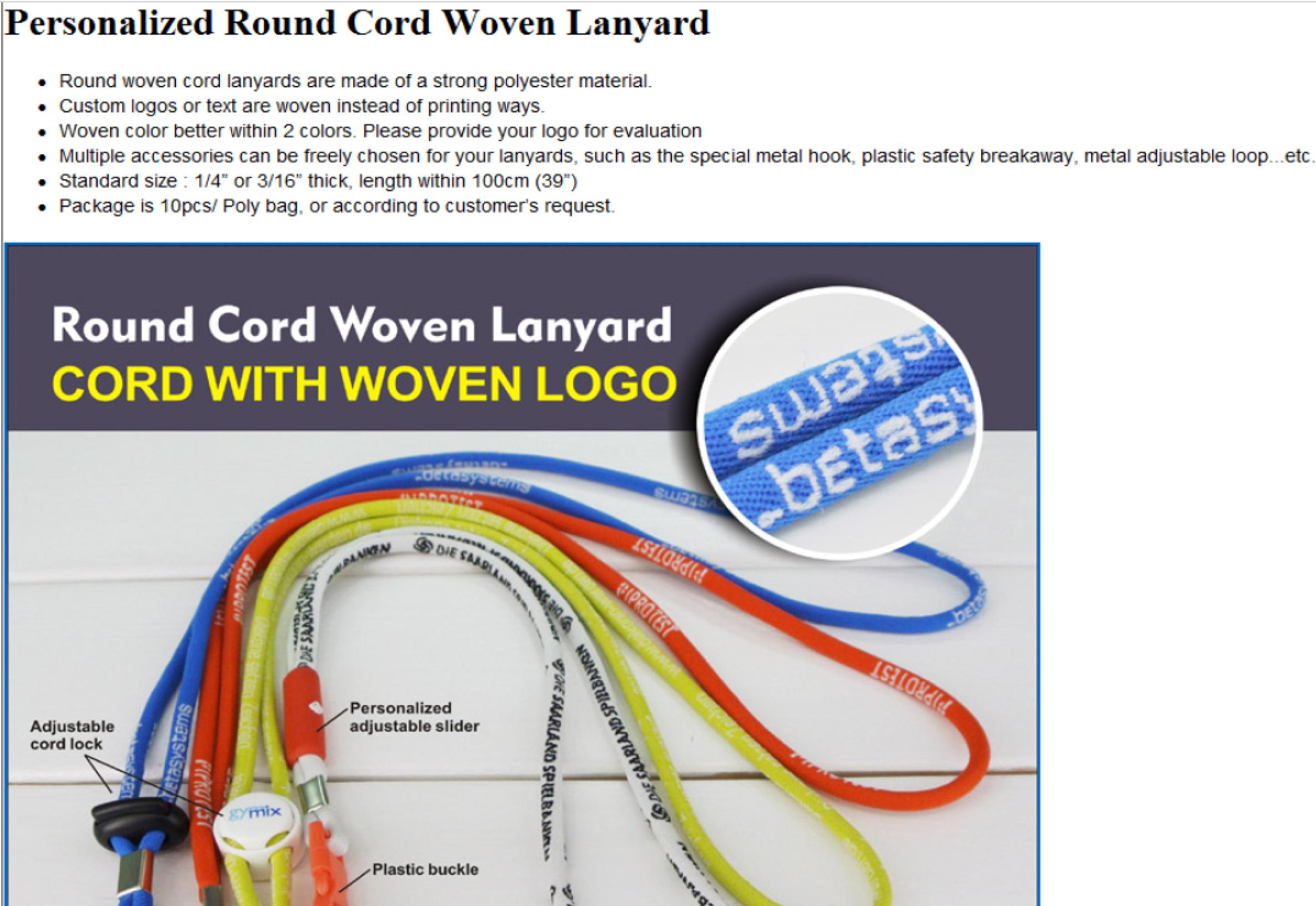round cord woven lanyard